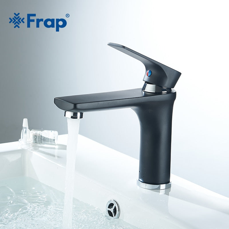 Frap Single Handle CoTap Black Bathroom Faucet