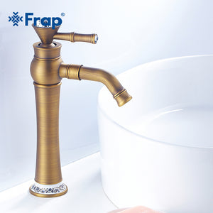 Frap New Basin Faucet Brass Bathroom Balcony Vintage Style Single Handle Hot & Cold Water Sink Faucet Bath Accessories Y10085