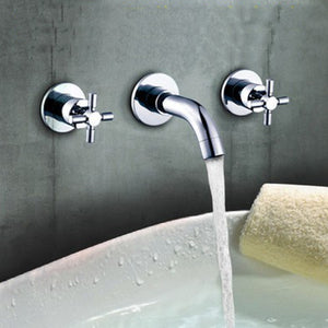 3 Hole Cross Head Wall Chrome Bathroom Tub Faucet