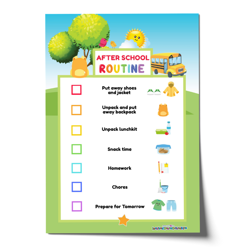 Editable After School Routine Chart