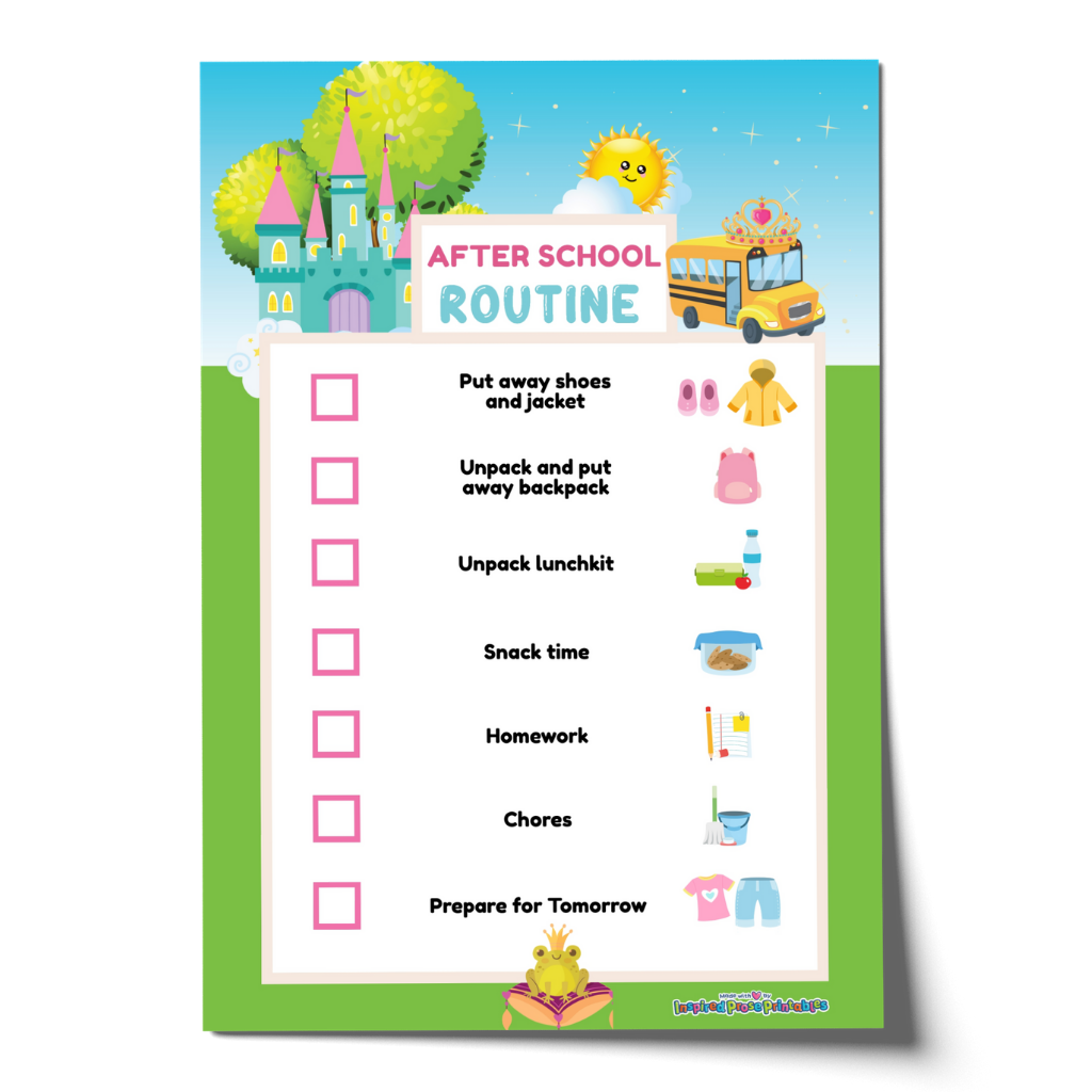 Editable Princess After School Routine Chart