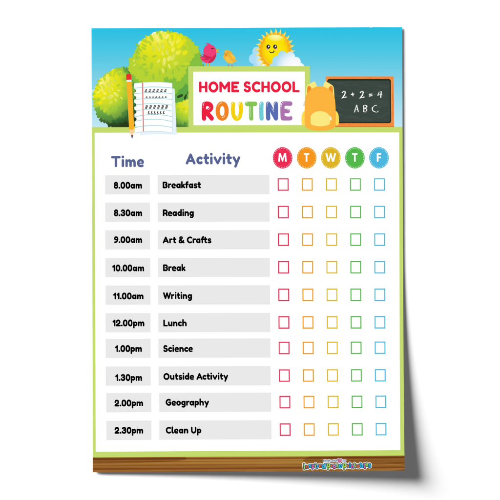 Editable Home School Schedule