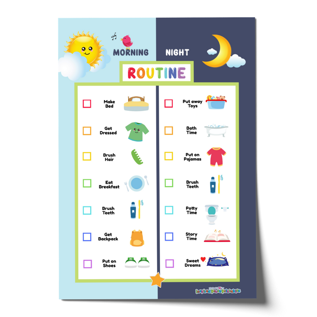 Editable Kid Morning Bedtime Routine Chart