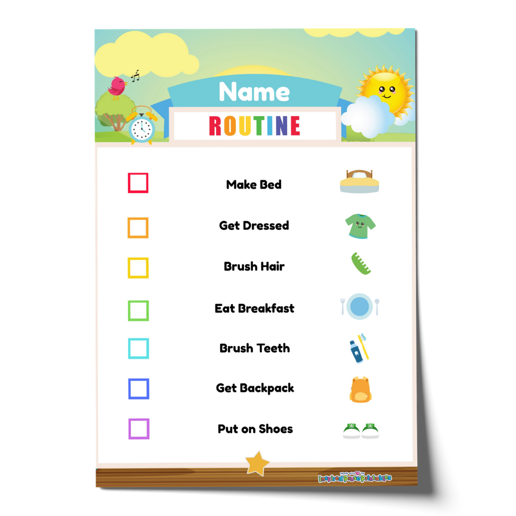 Editable Morning Routine Chart Checklist with Name - Blue
