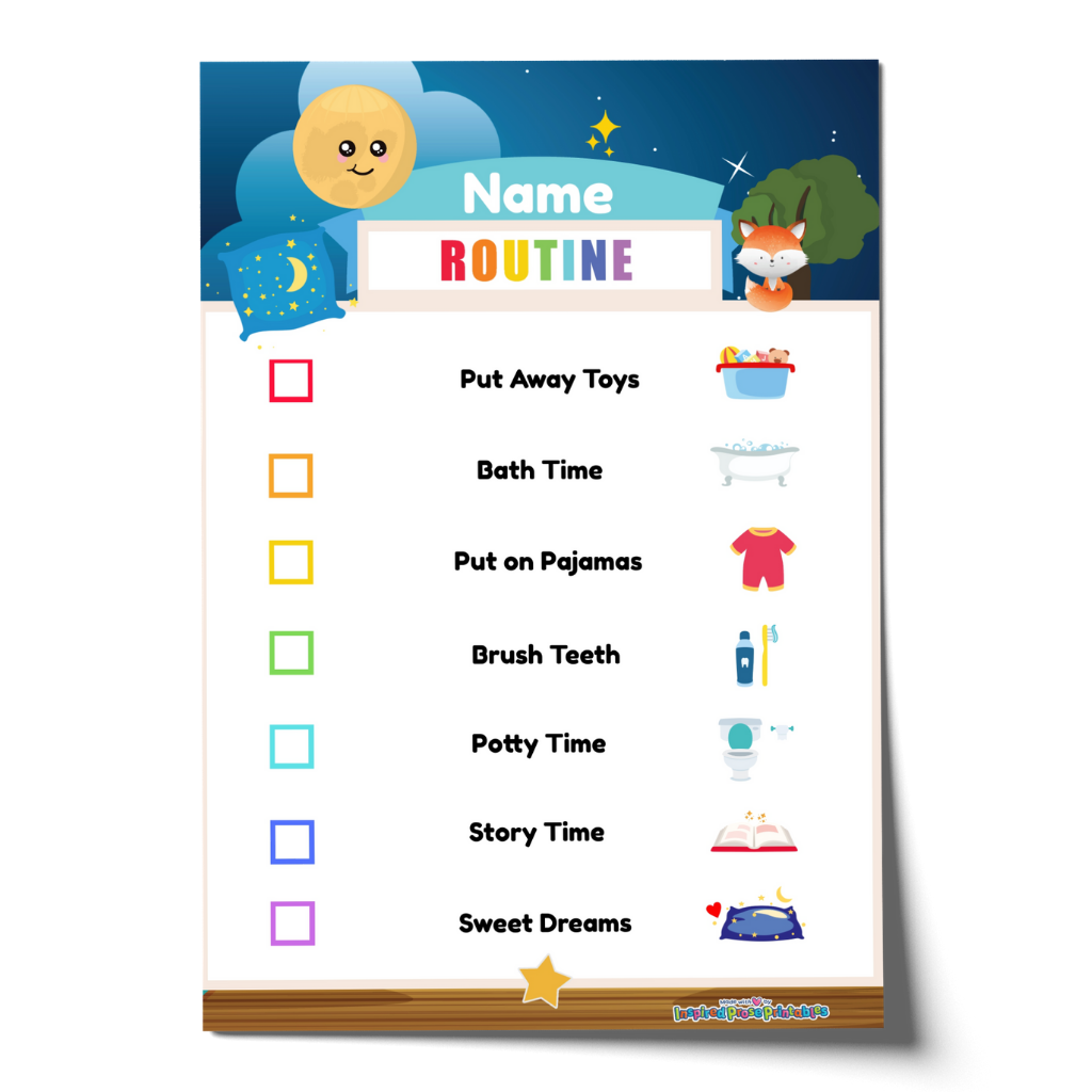 Editable Bedtime Routine Chart Checklist with Name - Blue