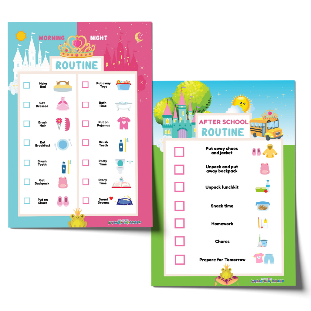 Editable Princess Morning Bedtime Routine & After School Checklist Bundle