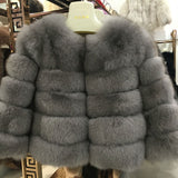FURSARCAR 2019 Fashion Dark Gray Coat Short Real Fur Coat Women Natural Fox Fur Coats Winter Nine Quarter Sleeves Warm Clothing