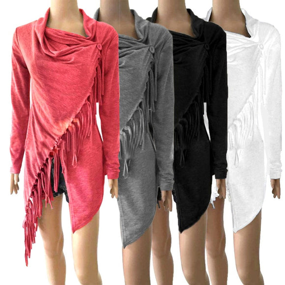 Women Spring Solid Irregular Tassel Outerwear Knitted Plus Size Fashion Design Scarf collar Long Sleeve Tops Causal Female