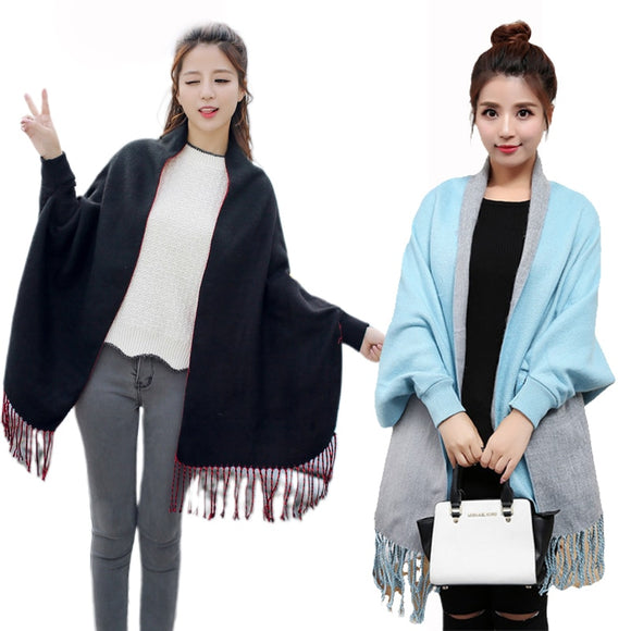 New Women Ladies Tassel Shawl Cape Coat Fringe Poncho Coat Shawl Scarf Plain Solid Cardigan Coat Lady Streetwear Cape