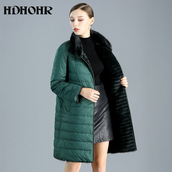 HDHOHR 2019 Real Mink Fur Coats Women With Down Double Side Wear New Natural Mink Coats Winter Warm Kintted Fur Jackets