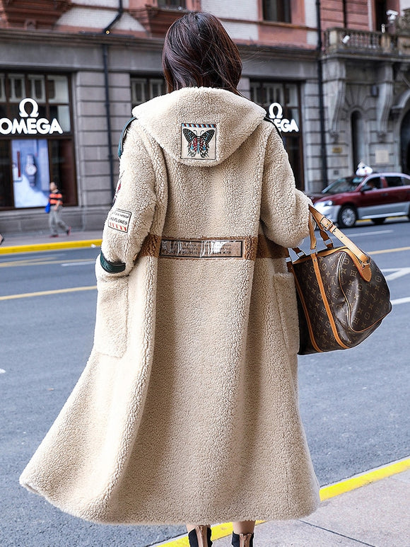 2019 Korean Long Jackets Manteau Femme Real Fur Coat Female Sheep Shearling Wool Coats Winter Jacket Women PP249