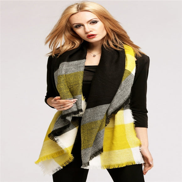 Stylish Women's Personality Tartan Plaid Fashionable Lady Scarf Wrap Blanket Shawl
