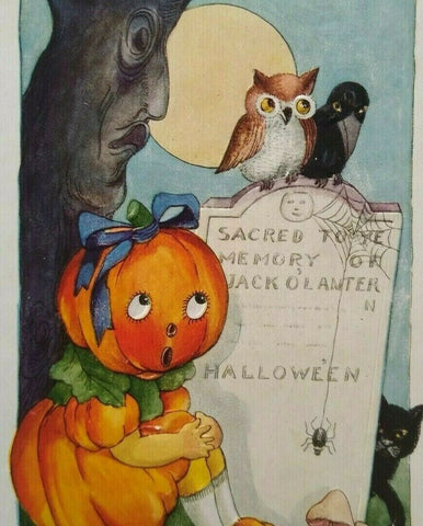 Vintage Halloween Postcard Whitney Big Head Goblin Girl Tree With Face Unused