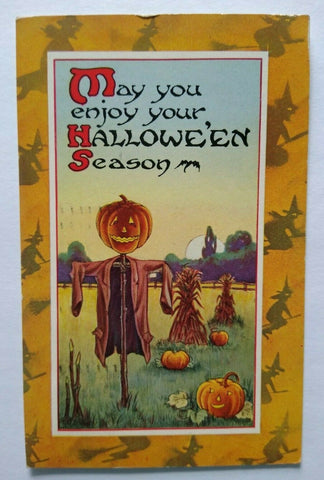 Halloween Postcard Gibson Flying Witch Border Pumpkin Patch Original Vintage