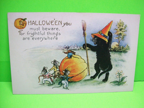 Whitney Halloween Postcard Black Cat Dressed As Witch 1924 Original Antique #82 - Post Punk Records
