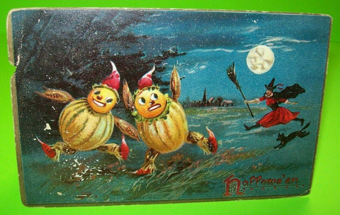 Vintage Halloween Postcard Tucks Original #150 Witch Chases Goblin Men Moon Man - Post Punk Records