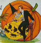 Vintage Halloween Postcard Festive Couple Yellow Dress Stecher 419 A Ontario