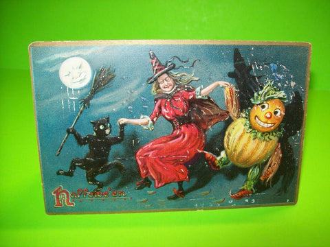Vintage Halloween Postcard Tucks Witch Dances Goblin Black Cat Gothic Series 150 - Post Punk Records