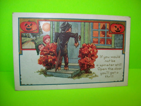 Vintage Halloween Postcard Whitney Scarecrow At Front Door Original Antique - Post Punk Records