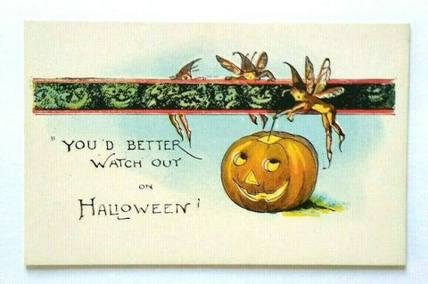 Halloween Postcard Vintage Miller Art Fairies Creepy Goblins Series 298 Unused
