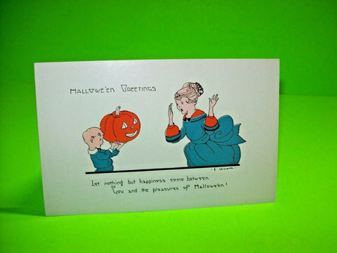 Halloween Postcard Weaver Unused Series 2399 Original Mom Child Vintage Antique - Post Punk Records