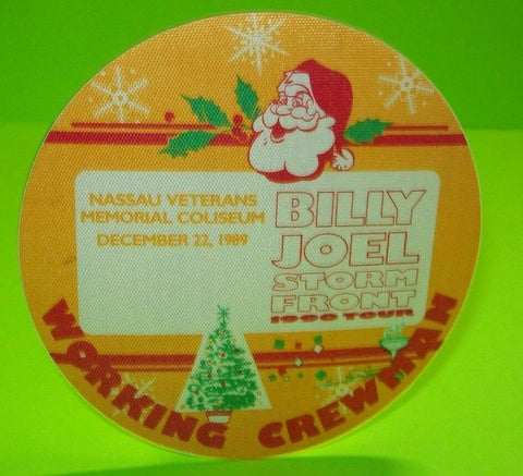 Billy Joel Storm Front Tour Backstage Pass Santa Christmas Art Original 1990