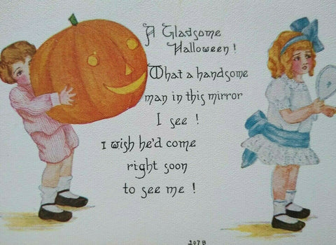 Vintage Halloween Postcard Boy Giant Pumpkin Girl Mirror 207 B FA Owen Unused