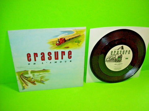 "Erasure ‎– Oh L'Amour Vinyl 7"" Record WITHDRAWN COVER Thomas The Tank Synth-Pop - Post Punk Records"
