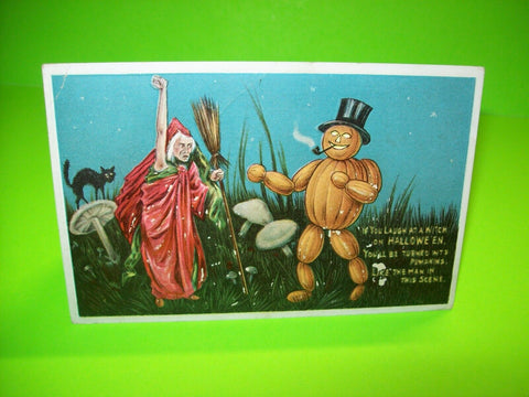 Halloween Postcard Anglo-American Original Embossed 876/3 Witch Smoking JOL Man - Post Punk Records