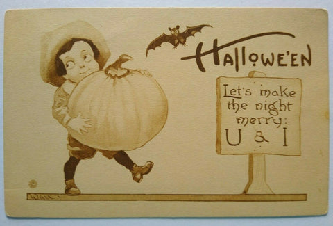 Vintage Halloween Sepia Postcard Wall Boy With Large Pumpkin And Bat Unused