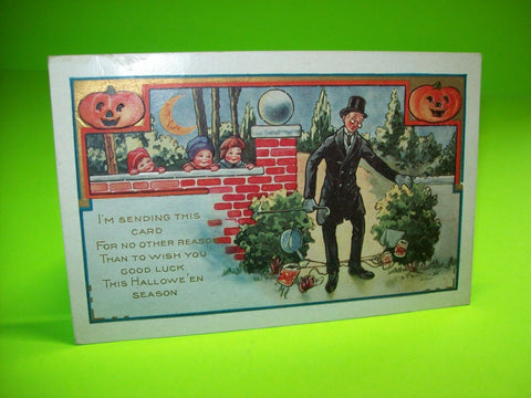 Vintage Halloween Postcard Whitney Kids Tripping Man 2 Pumpkins Pranks Series - Post Punk Records