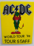 AC/DC Red Devil Backstage Pass Original 1996 Hard Rock Music Concert Laminated