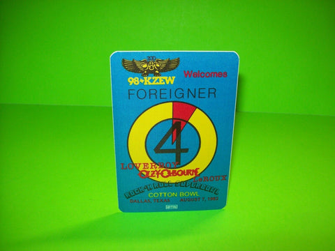 Ozzy Osbourne Foreigner Loverboy SUPERBOWL Backstage Pass Original Otto 1982 NOS - Post Punk Records