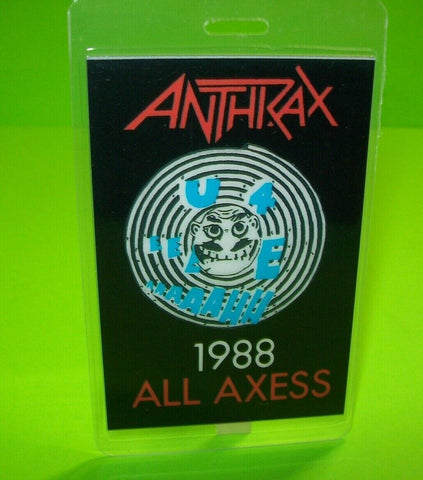 Anthrax Backstage Pass Original 1988 Concert Tour Hard Rock Metal Fans All Axess