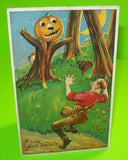 Vintage Halloween Postcard Bien Julius Series 980 Man Spooked In Woods 1910 - Post Punk Records