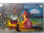 Vintage Halloween Postcard Witch By Campfire Caldron Black Cat Silver Border