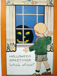 Halloween Postcard Whitney Who's Afraid Black JOL In Window Vintage Original