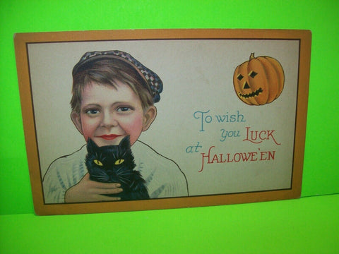 Halloween Postcard Boy Holding Black Cat 1291 C Stecher Original Antique #4 - Post Punk Records