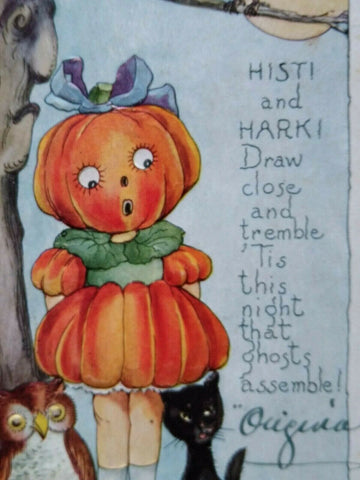 Vintage Halloween Postcard Goblin Girl Black Cat Whitney Original Petersburg Va