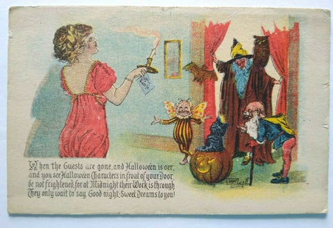 Vintage Halloween Postcard Gottschalk Series 5050 Weird Fairy Dwarf Witch Owl