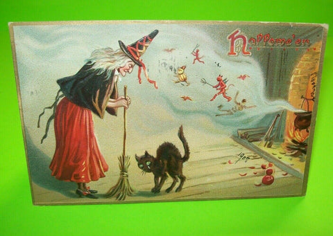 Halloween Postcard Tucks Original Witch Black Cat Flying Devils & Goblins No 150 - Post Punk Records