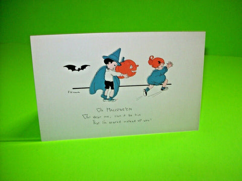 Halloween Postcard Weaver Unused Series 2399 Original Boy Girl And Bat Vintage - Post Punk Records