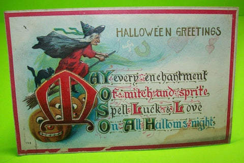 Vintage Halloween Postcard 1911 Flying Witch Black Cat Original Series 142 - Post Punk Records