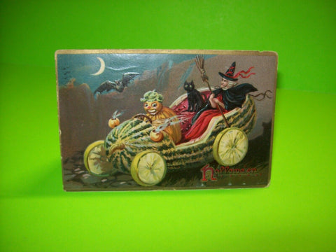 Vintage Halloween Postcard Tuck Mellon Car Witch Black Cat Goblin Cab Driver 150 - Post Punk Records