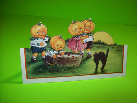 Vintage Halloween Postcard Whitney Diecut Art Stand Up Big Headed Goblins & Cat - Post Punk Records