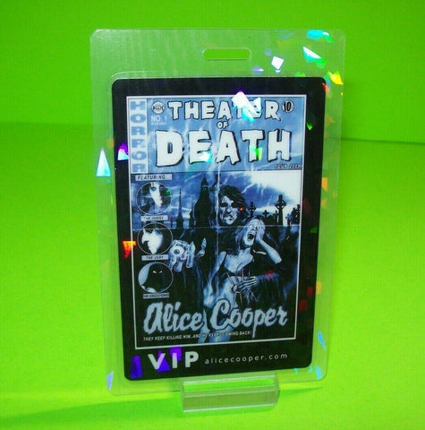 Alice Cooper Theater Of Death Backstage VIP Pass Rock Halloween Horror Blue Etch