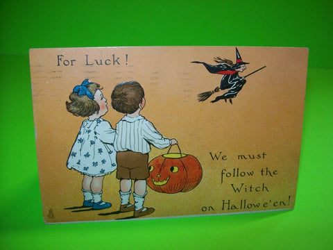 Vintage Halloween Postcard Tucks Original Series 188 For Luck Flying Witch 1912 - Post Punk Records