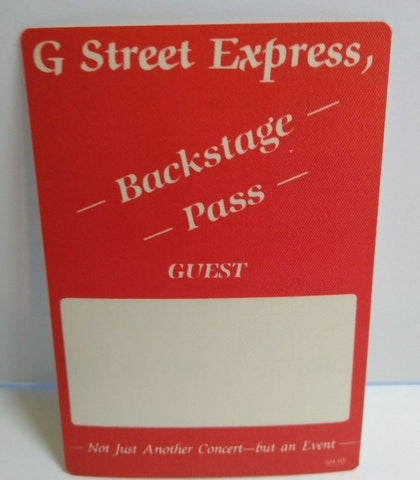 G Street Express Backstage Pass Original Unused Concert Gift Obscure Music Label - Post Punk Records