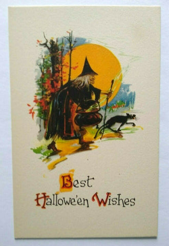 Vintage Halloween Postcard Gibson Witch Black Cat Cauldron Unused Rare Original