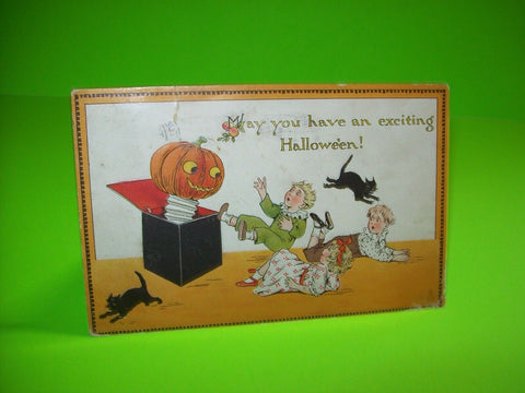Vintage Halloween Postcard Tucks Original Series 190 Jack In The Box Black Cats - Post Punk Records